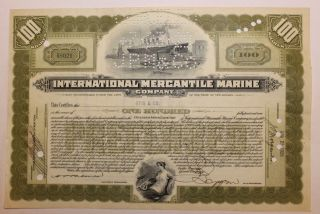 1929 International Mercantile Marine Co.  Stock Certificate Titanic Type 2 Olive photo