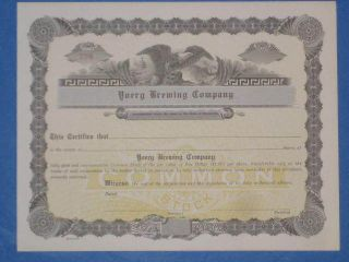 Unissued Yoerg Brewing Company Stock Certificate 1942 Beer photo