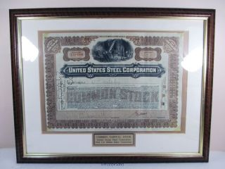 Us Steel Corporation Stock Certificate Framed W Certificate Of Authenticity photo