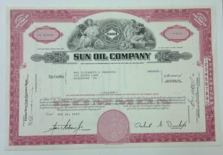 Sun Oil Company (sunoco) 1963 Share Certificate Red photo