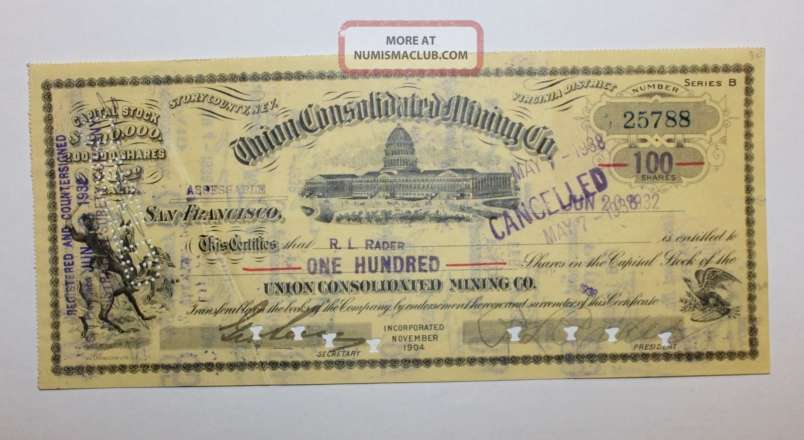 1932 Union Consolidated Mining Co.  Stock Certificate Virginia District,  Nevada Stocks & Bonds, Scripophily photo