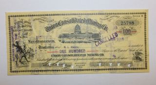 1932 Union Consolidated Mining Co.  Stock Certificate Virginia District,  Nevada photo