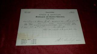 1907 Aug 18 Knox & Barton Night Assaying - Assay Certificate Goldfield Nevada photo