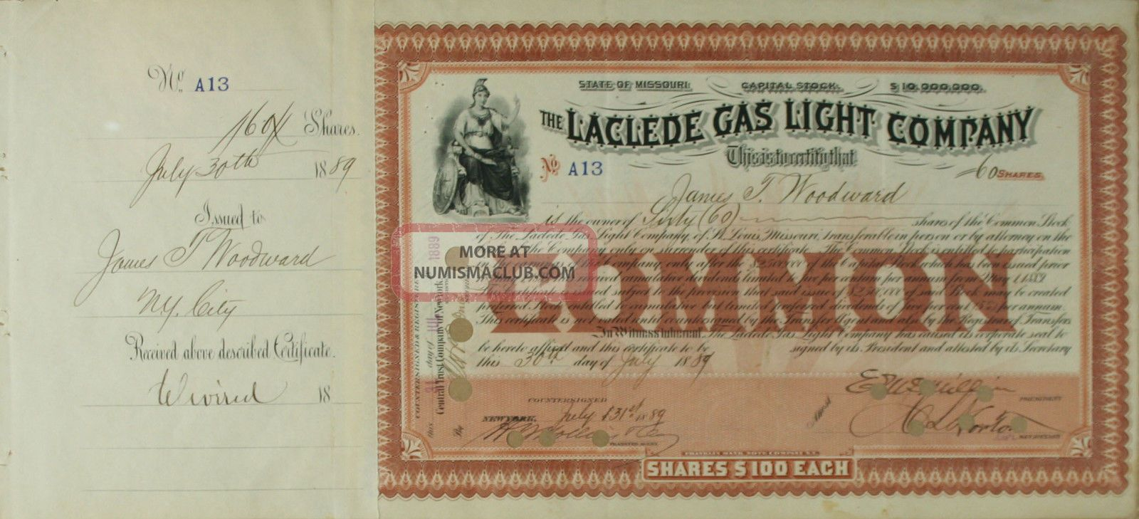 S1011 Laclede Gas Light Company 1800s Stock Certificate Brown Stocks & Bonds, Scripophily photo