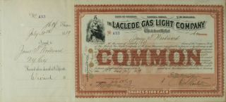 S1011 Laclede Gas Light Company 1800s Stock Certificate Brown photo