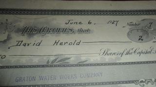 1927 Graton Water Company California J.  A.  Robertson Stock Certificate 7 photo