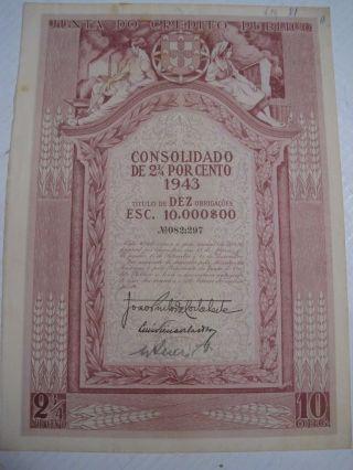 Junta Do Credito Publico Ten Duty - Share - 1943 Portuguese photo