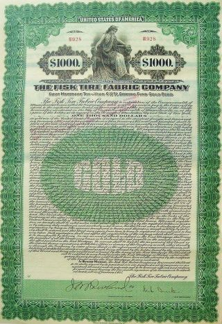 The Fisk Tire Fabric Company Gold Bond Certificate With Coupons - Issued In 1925 photo