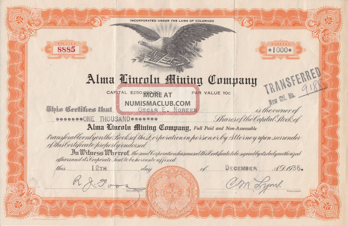 Depression Era 1936 Alma Lincoln Mining Company Stock From Colorado Great Eagle Stocks & Bonds, Scripophily photo