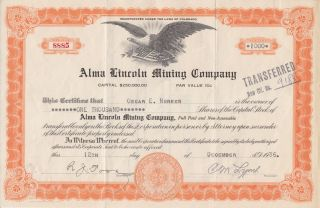 Depression Era 1936 Alma Lincoln Mining Company Stock From Colorado Great Eagle photo