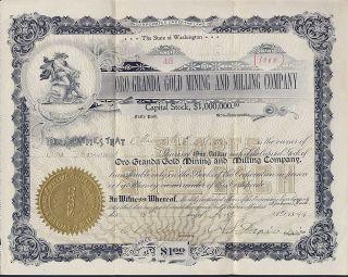 Ora Granda Gold Mining,  Milling Co.  Washington State 1899 Stock Certificate 48 photo