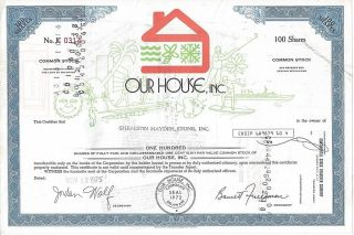Our House,  Inc.  Stock Certificate photo