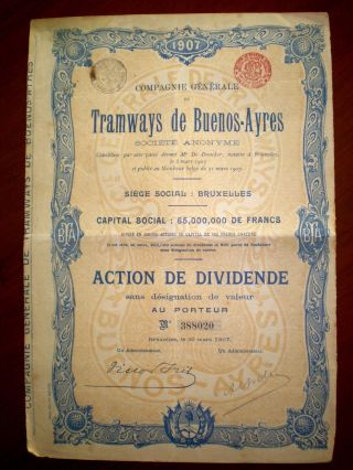 Argentina,  Tramways De Buenos Aires,  Share Certificate 1907,  Good photo
