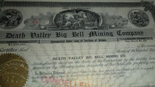 1906 Death Valley Big Bell Mining Company Rare Stock Certificate Goldfield Seal photo