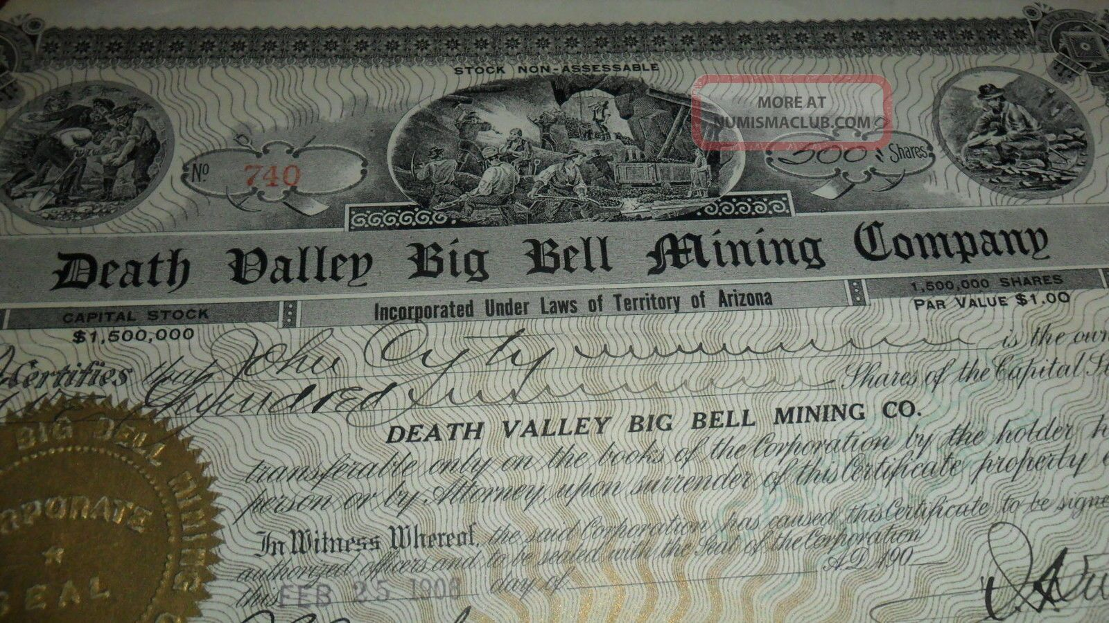 1908 740 Death Valley Big Bell Mining Company - Rare Signed Stock Certificate Stocks & Bonds, Scripophily photo
