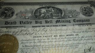 1908 740 Death Valley Big Bell Mining Company - Rare Signed Stock Certificate photo