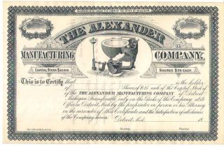Stock Certificate For The Alexander Manufacturing Co 1800 ' S Detroit Mich photo