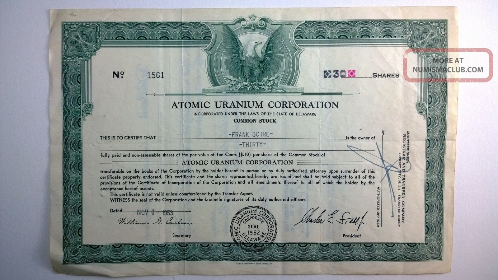 Atomic Uranium Corporation,  Stock Certificate,  1953 Delaware Stocks & Bonds, Scripophily photo