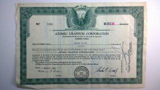Atomic Uranium Corporation,  Stock Certificate,  1953 Delaware photo
