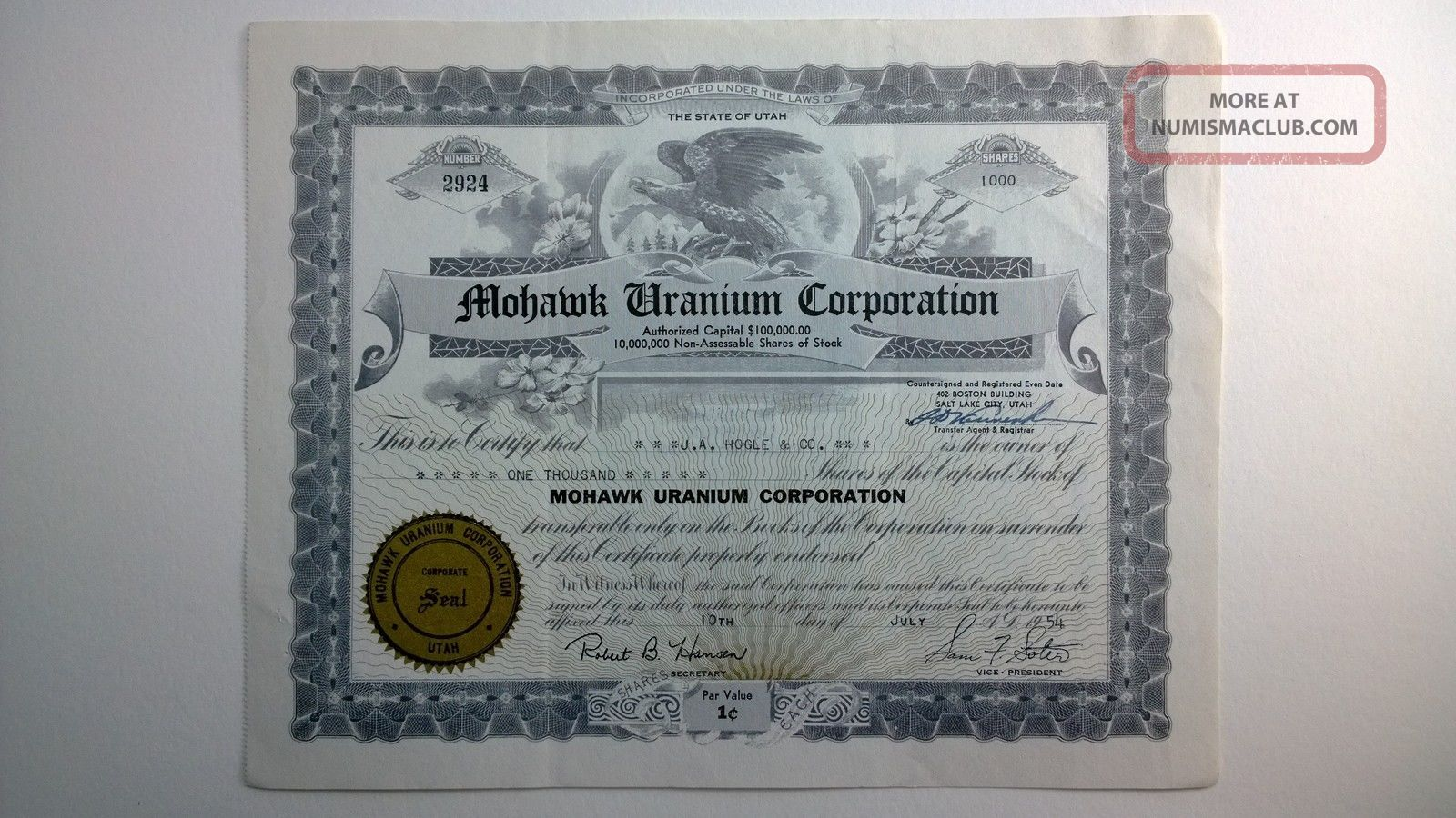 Mohawk Uranium Corporation,  Stock Certificate,  Utah Stocks & Bonds, Scripophily photo
