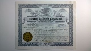 Mohawk Uranium Corporation,  Stock Certificate,  Utah photo