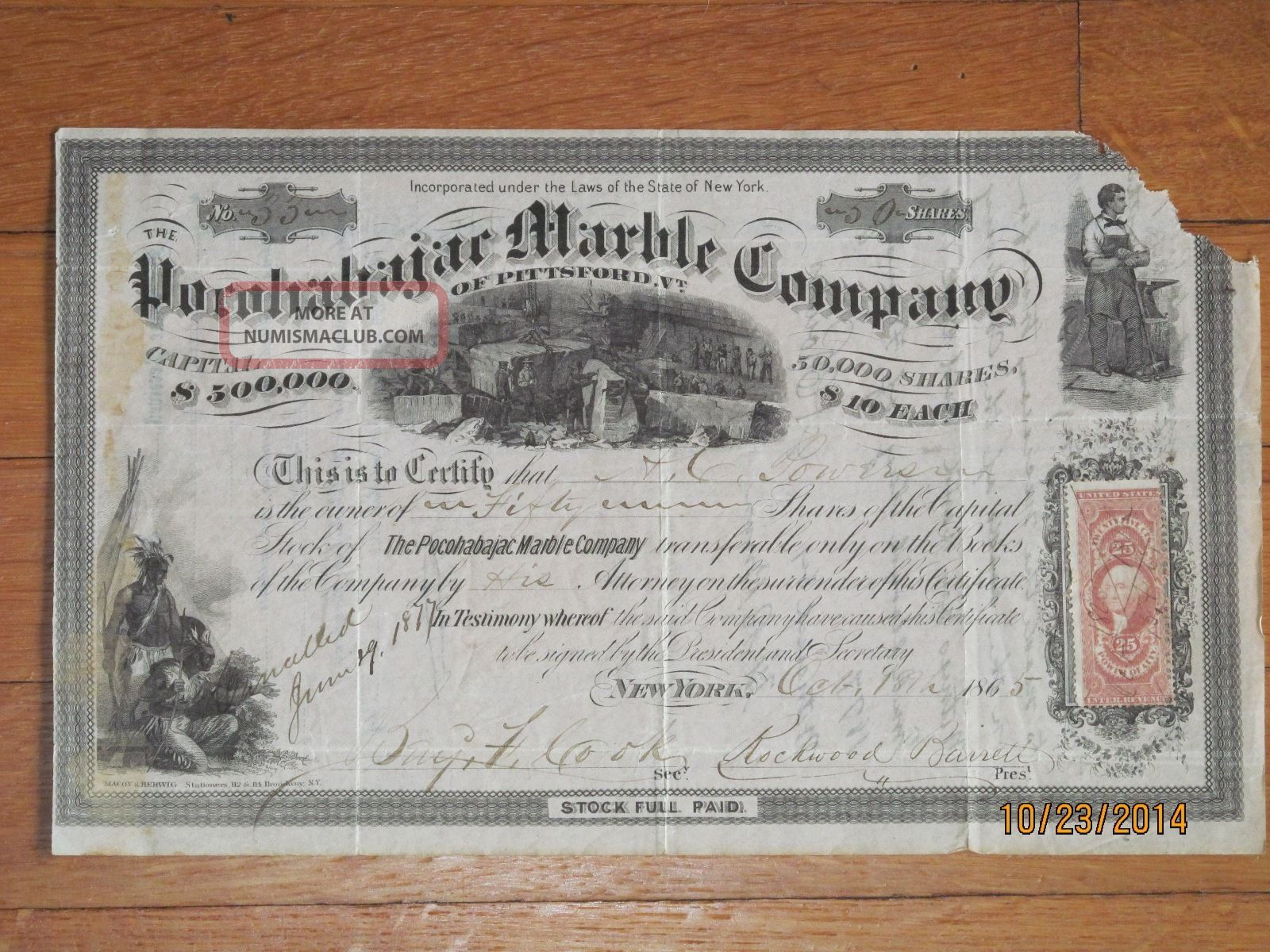 1865 Pocohabajac Marble Company Stock Certificate Of Pittsford,  Vermont Stocks & Bonds, Scripophily photo