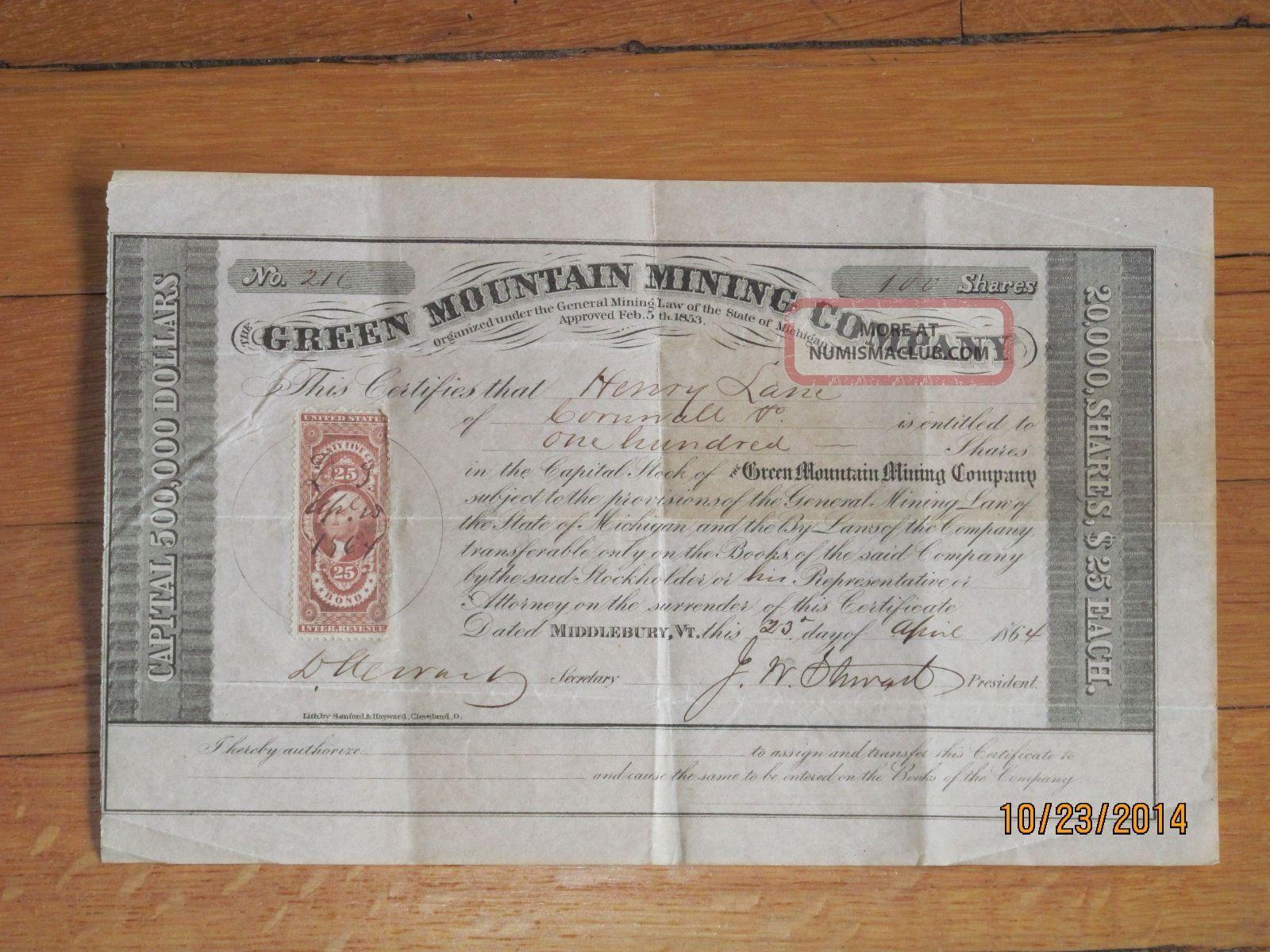 1864 Green Mountain Mining Company Stock Certificate,  Signed By Gov.  J.  W.  Stuart Stocks & Bonds, Scripophily photo