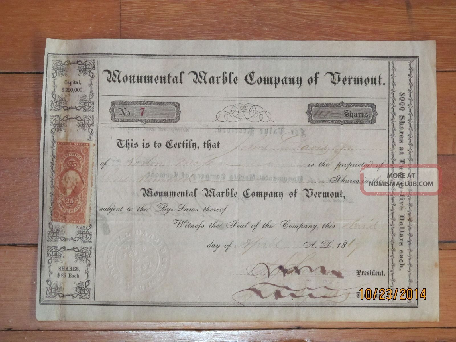 1867 Monumental Marble Company Of Vermont Mining Stock Certificate No.  7,  100 Sh Stocks & Bonds, Scripophily photo