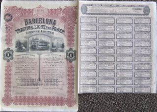 S769 Barcelona Traction,  Light & Power Co Ltd 1932 Warrant Bond Certificate photo