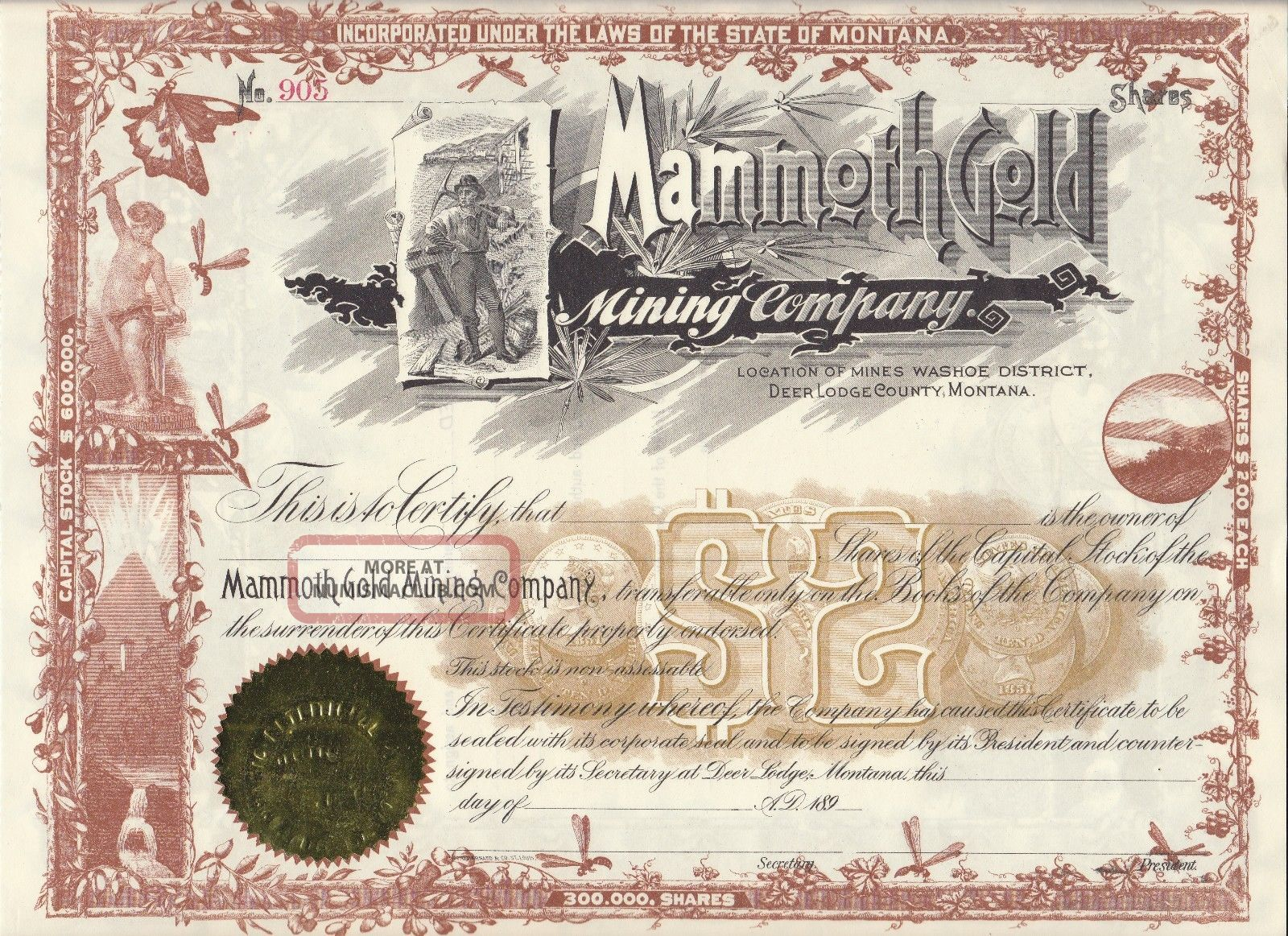 Deer Lodge Montana Mammoth Gold Mining Co.  1890 ' S Stock Certificate Stocks & Bonds, Scripophily photo