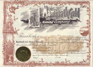 Deer Lodge Montana Mammoth Gold Mining Co.  1890 ' S Stock Certificate photo