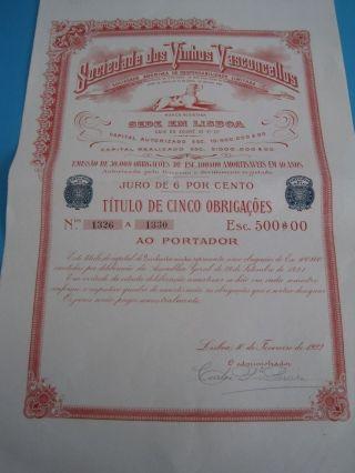 Society Of Wine Vasconcellos - Five Duties Certificate Share - 1922 photo