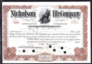 1908 Nicholson File Company Stock Certificate photo