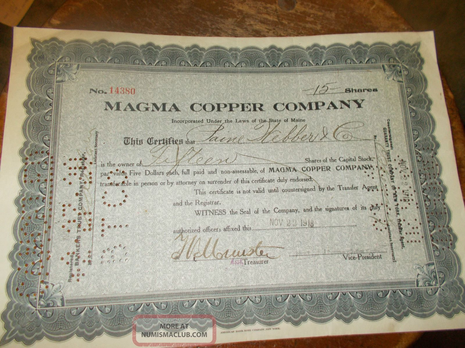 Magma Copper Company Stocks & Bonds, Scripophily photo