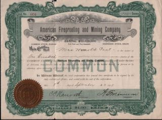 Stock Certificate - American Fireproof & Mining Company/$1/1917 photo