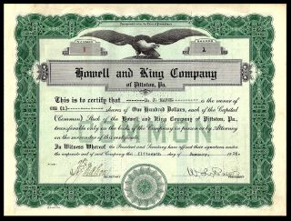 Lowel And King Company Of Pittston,  Pa.  1 Shares.  January 15,  1936. photo