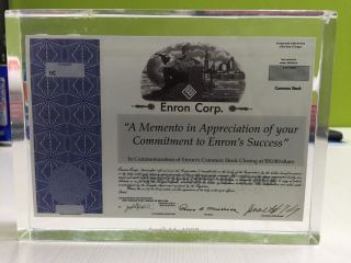 Enron Corp Stock Certificate In Cubed Lucite Plastic Dated April 14,  1998 photo