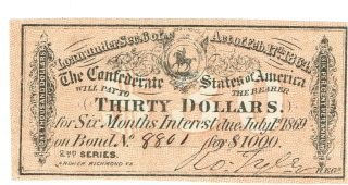 Confederate States Bond - 3 Interest Coupons $30. ,  $40. ,  & $3. photo