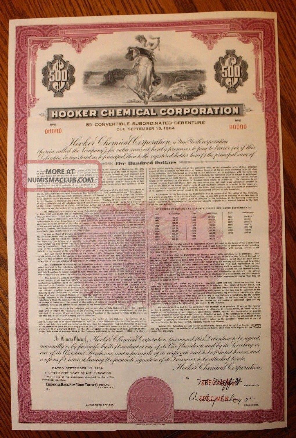 1959 Hooker Chemical Specimen $500 Bond Love Canal Disaster,  Niagara Falls Rare Stocks & Bonds, Scripophily photo