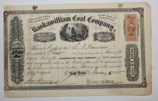 1865 Kaskawilliam Coal Company Stock Certificate Pennsylvania Scarce Civil War photo
