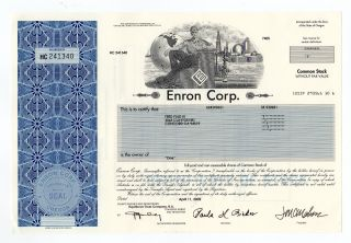 Enron Corporation Stock Certificate photo