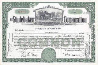 Studebaker Corporation Stock Certificate 1954,  Blacksmith Shop Vignette photo