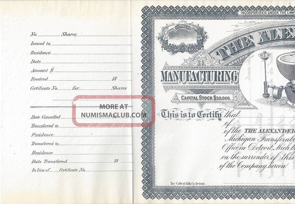 alexander manufacturing company stock certificate d d