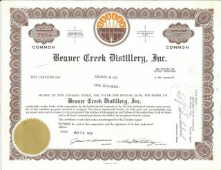 Beaver Creek Distillery Stock Certificate - Cancelled 100 Shares - Iowa 1968 photo