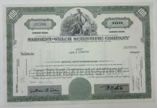 Sargent - Welch Scientific Co 1970 Share Certificate 100 Shares photo