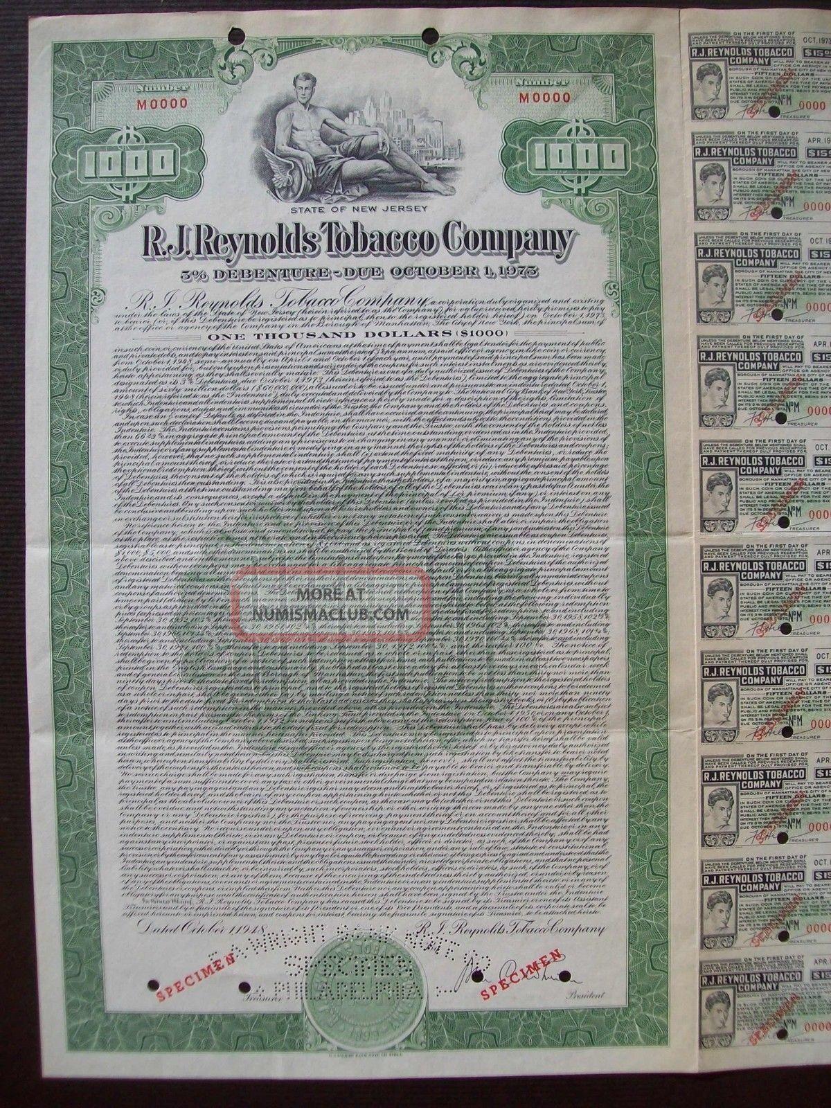 United States 1973 Bond Specimen - R.  J Reynolds Tobacco Company. .  B1580 World photo
