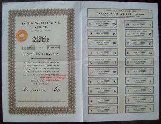 Switzerland 1929 Bond With Coupons Tandjong Keling A.  G Zurich - Tobacco.  B1571 photo