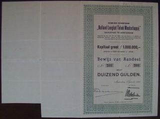 Netherlands 1926 Bond With Coupons Holland Langkat Tabak Tobacco. .  B1531 photo