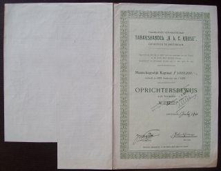 Netherlands 1921 Bond With Coupons Tabakshandel H.  L.  C Krusse Tobacco.  B1541 photo