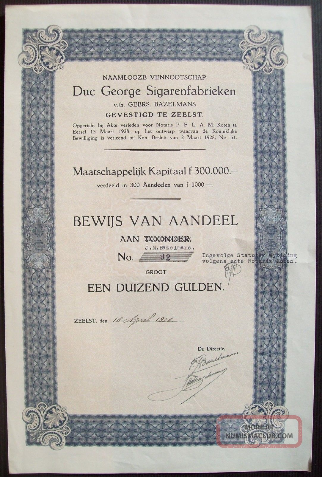 Netherlands 1920 Bond Duc George Sigarenfabrieken Zeelst Tobacco. .  B1540 World photo